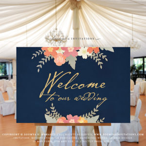 Navy Blush Pink Coral Peach Wedding Welcome Sign Navy Blue Gold