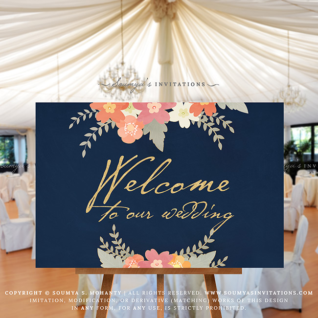 Navy Blue Wedding.Navy Blush Pink Coral Peach Wedding Welcome Sign Navy Blue Gold Wedding Reception Sign Rustic Floral Welcome Wedding Sign Printable Wedding Sign