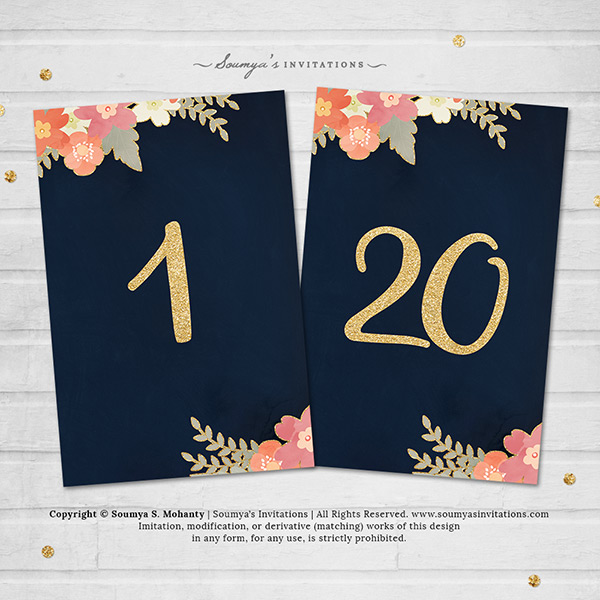 Navy Blue Gold Wedding Table Numbers Navy Blush Pink Coral Peach