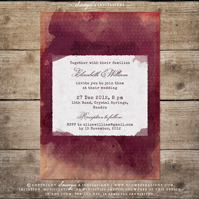 Burgundy Red Wine Wedding Invitation Vineyard Winery Wedding