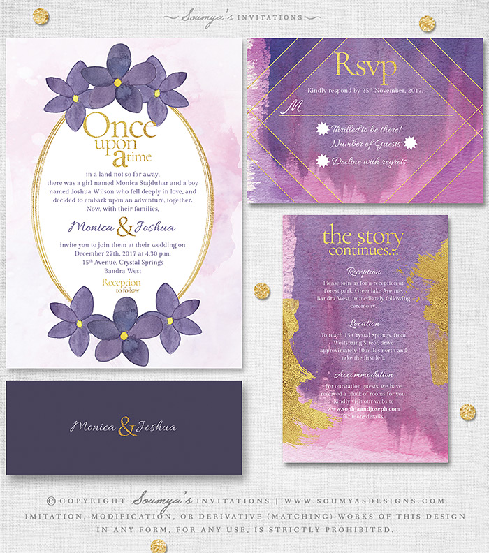 Pink Purple Floral Wedding Invitation Fairytale Wedding Invitation