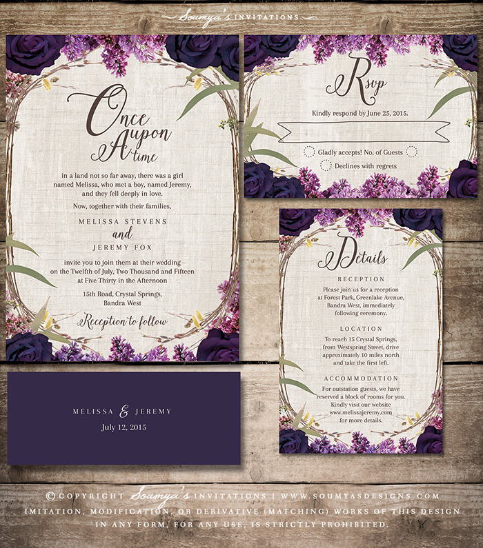 Purple Floral Wedding Invitation Enchanted Forest Fairytale Wedding