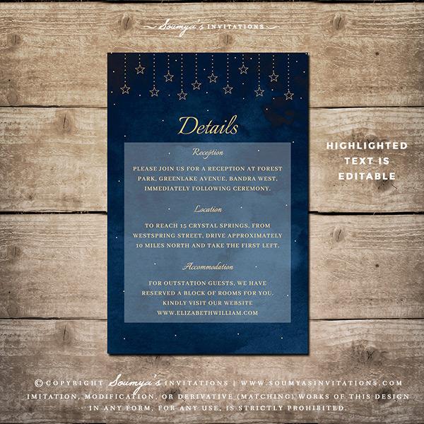 Moon Stars Celestial Wedding Invitation Starry Night Sky Wedding