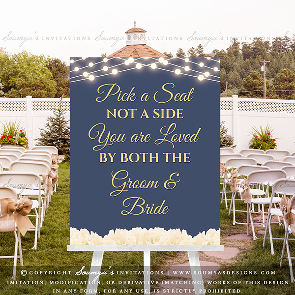 navy blue gold wedding signs  unplugged wedding ceremony sign  pick a seat not a side sign  here