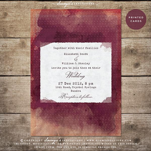 Burgundy Red Peach Wine Marsala Watercolor Wedding Invitation Winery Vineyard Rustic Bohemian Boho Vintage Eclectic Typewriter