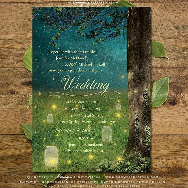 Enchanted Forest Wedding Invitation, Mason Jar Fireflies ...